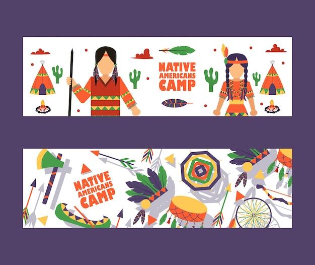 Native american camp banner, uitnodiging voor kinderen zomerkamp in indiaanse stijl