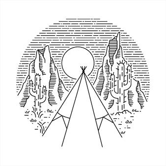 Native american desert camp wandeling natuur wild line grafische illustratie art t-shirt design