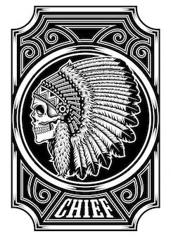Native american indian chief skull in zwart en wit