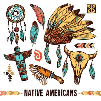 Native americans decoratieve icon set