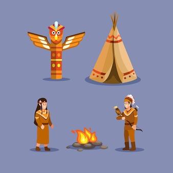 Native indian american mensen etnische symboolset