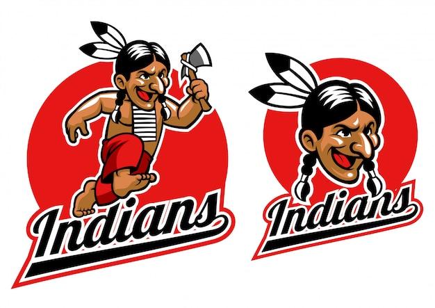 Native indian houdt een bijl