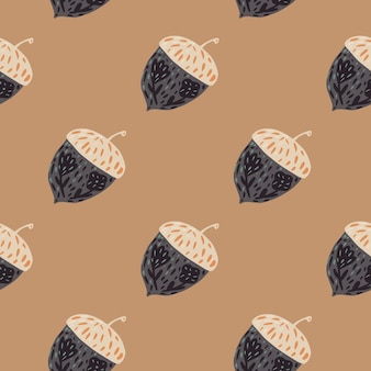 Natue ornic naadloos patroon met boseikelvormen. grijs gekleurde sieraad op beige achtergrond. platte vectorprint voor textiel, stof, cadeaupapier, behang. eindeloze illustratie.