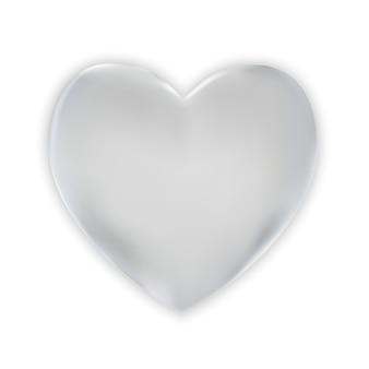 Naturalistisch kleurrijk 3d zilveren hart op een wit.
