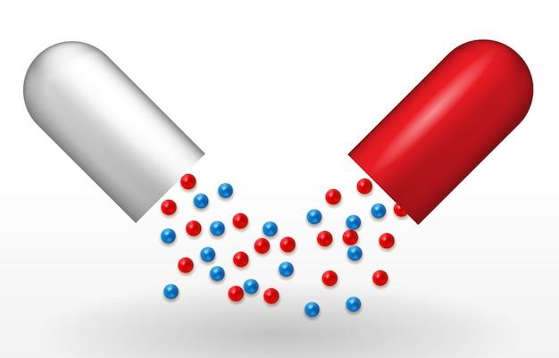 Naturalistische rode en witte capsule. genees voor ziekten. vaccin in pil. illustratie