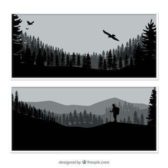 Nature banners met silhouetten
