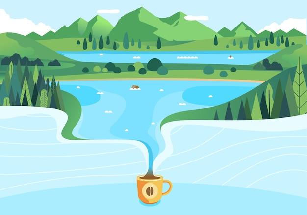 Nature coffee geïllustreerd met prachtige berglandschap gieten in kopje koffie vlakke afbeelding