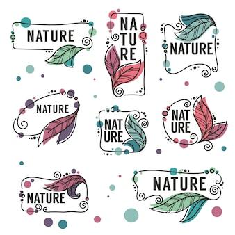 Nature frames verzameling doodle bloemen emblemen en logo