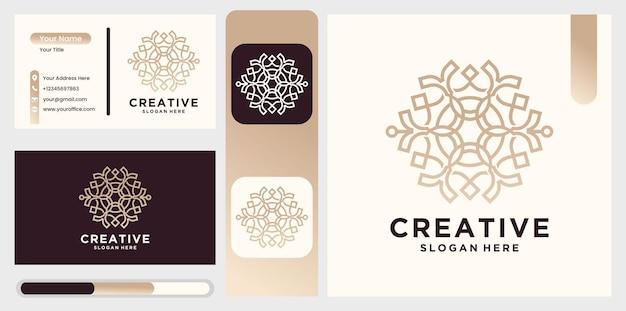 Natuur abstract luxe logo met lijn kunststijl en visitekaartje bloem logo cirkel abstract ontwerpsjabloon. lotus spa