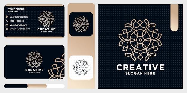 Natuur abstract luxe logo met lijn kunststijl en visitekaartje