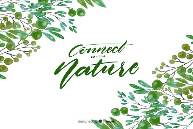 Natuur achtergrond met belettering citaat