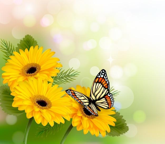 Natuur achtergrond met gele prachtige bloemen en vlinder