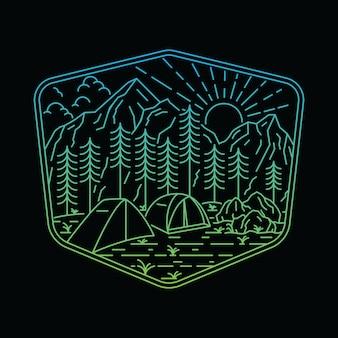 Natuur berg camping wandelen lijn illustratie