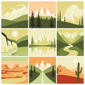 Natuur berg pictogrammen