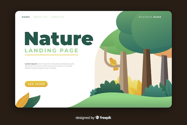 Natuur bestemmingspagina plat ontwerp
