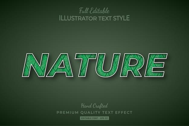 Natuur bewerkbare 3d-tekststijl effect premium