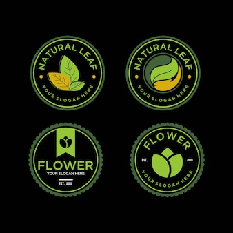 Natuur blad en bloem vintage logo ontwerpsjabloon