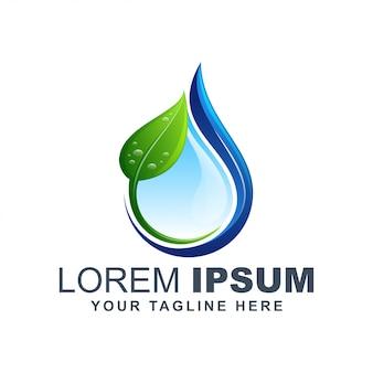 Natuur blad en druppel water puur logo