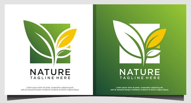 Natuur blad groen logo ontwerpsjabloon