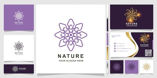 Natuur-, bloem-, boetiek- of ornamentlogosjabloon met visitekaartjeontwerp.
