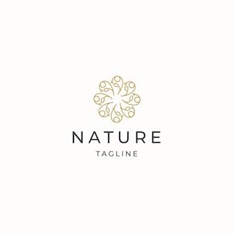 Natuur bloem elegante luxe gouden kleur logo pictogram ontwerp sjabloon platte vector