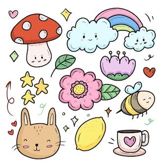 Natuur bloem en wolk cartoon collectie set sticker