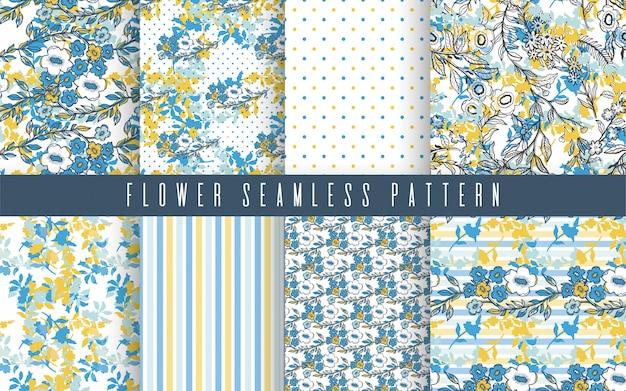 Natuur bloem kleine naadloze patroon ingesteld