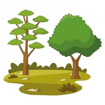 Natuur bomen park tekenfilms