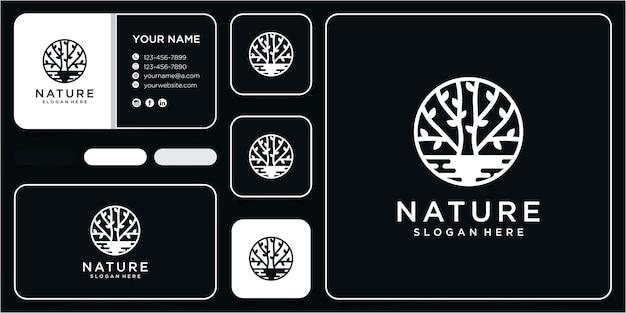 Natuur boom logo en water logo ontwerpconcept met visitekaartje