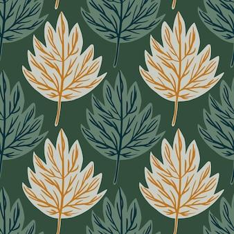 Natuur bos naadloze patroon met doodle eenvoudige bladeren vormen