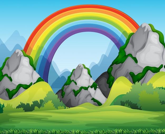 Natuur boszicht met regenboog in de luchtscène