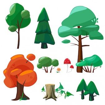 Natuur cartoon elementen. game ui collectie van bomen struiken hennep takken wortels stenen laat plassen weer vector symbolen cartoon