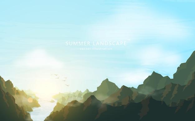 Natuur cartooneske landschap. bergen en rivier op blauwe hemel