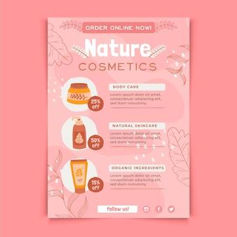 Natuur cosmetica flyer afdruksjabloon
