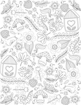 Natuur doodle planten bloemen dieren kleurloos lijntekening doodle kunst fruit bladeren paddestoelen