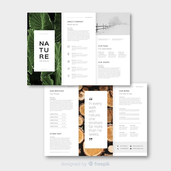 Natuur driebladige brochure sjabloon