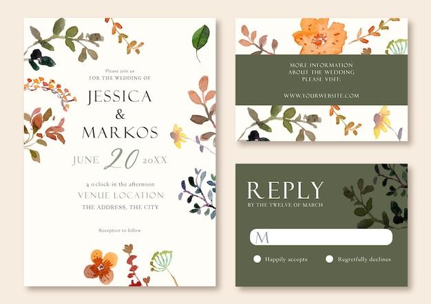 Natuur elegante aquarel bruiloft uitnodiging sjabloon
