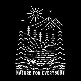 Natuur en bos in de hand getekend