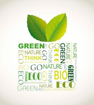 Natuur geschenk met bladeren en letters over bruine achtergrond vector