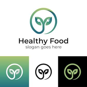 Natuur groeiende plant of blad groeien met lepel en vork voor dieet vegetarisch gezond voedsel logo-ontwerp