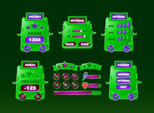 Natuur groene jungle game ui kit met knoppictogram en voortgangsbalk