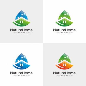 Natuur huis. huisreinigingslogo ontwerp.