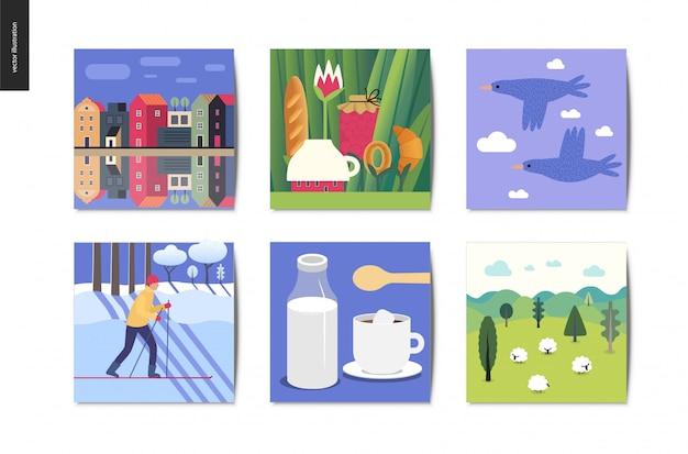Natuur illustratie kaarten. bos, koffie, sneeuw, stad, planten