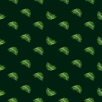 Natuur jungle naadloos patroon met kleine felgroene monstera bladeren print.