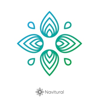 Natuur kompas logo. bladbloem van pin navigatie vorm concept. logo concept.