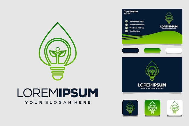 Natuur lamp logo ontwerpsjabloon en zakelijke auto