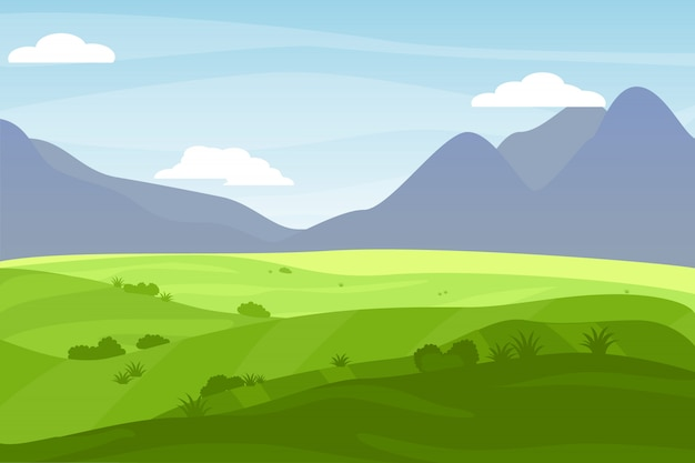 Natuur landschap cartoon stijl