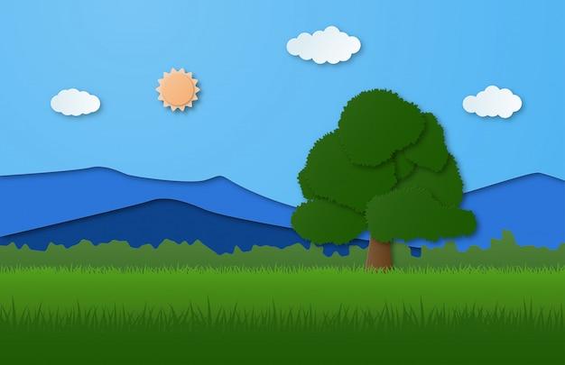 Natuur landschap met berg, bos en grote boom op gras ingediend in papier gesneden stijl.