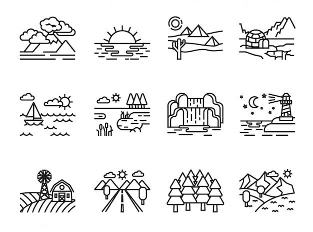 Natuur landschap pictogrammen instellen. lijnstijl voorraad vector.
