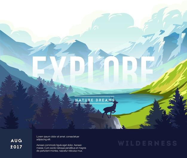 Natuur landschap poster met silhouetten van bergen en bomen. vector illustratie